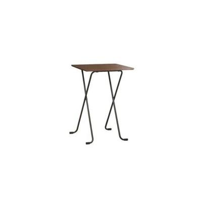 ds-2154572 折りたたみハイテーブル 【角型 ダークブラウン×ブラック】 幅60cm 日本製 木製 スチールパイプ 〔ダイニング リビング〕【代引不可】