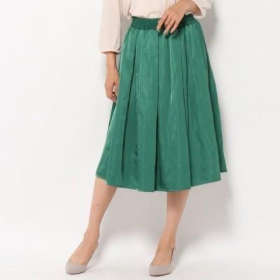 スカート レディース ロング 大人の女性のための艶感メモリー風スカート 「グリーン」