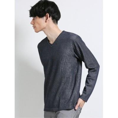 TAKA-Q / エムエフエディトリアルメンズ/m.f.editorial:MEN 針抜ダブルフェイス フェイクVネック長袖Tシャツ MEN トップス > Tシャツ/カットソー