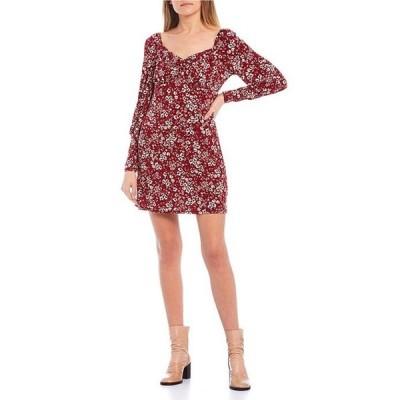 ハニーアンドロージー レディース ワンピース トップス Long-Sleeve Sweetheart-Neck Ditsy Print Dress