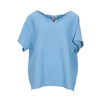 DOUUOD スウェットシャツ スカイブルー L コットン 100% スウェットシャツ