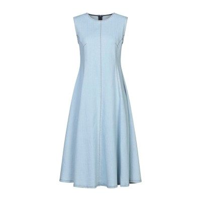 エリカ カヴァリーニ ERIKA CAVALLINI 7分丈ワンピース・ドレス ブルー 40 コットン 98% / ポリウレタン 2% 7分丈ワンピ