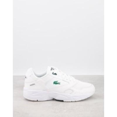 ラコステ メンズ スニーカー シューズ Lacoste storm 96 sneakers in white green White