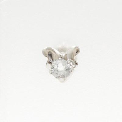 ピアス K14 14金 WG ホワイトゴールド (片耳) アクアマリン 総重量約0.3g