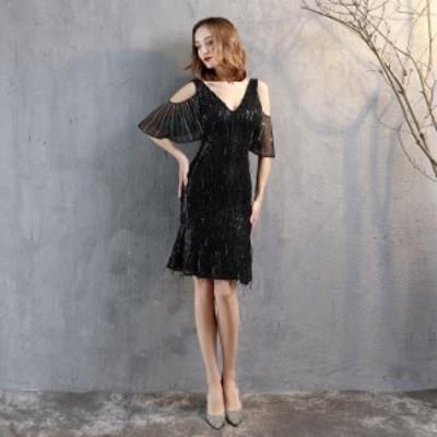 パーティードレス 安い 可愛い イブニングドレス ミディドレス フィッシュテール Vネック 2次会 シアー ナイトクラブ キャバ