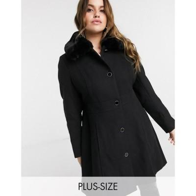 フォーエバーニュー Forever New Curve レディース コート ロングコート アウター long coat with faux fur collar in black ブラック