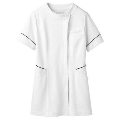 住商モンブラン ナースジャケット(半袖) 医療白衣 レディス 白/シルバー&ネイビー 3L 73-1724(直送品)