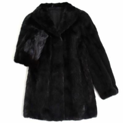 極美品▼2 MINK ミンク 本毛皮コート ブラック F 毛質艶やか・柔らか◎