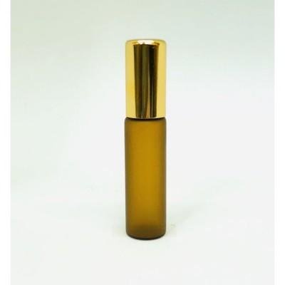 【ロールオンボトル】5ml ブラウン フロスト加工 茶色 携帯 化粧 アロマ 高級 遮光性 エッセンシャルオイル 黒キャップ ゴールドキャップ 容器 持ち運び 細