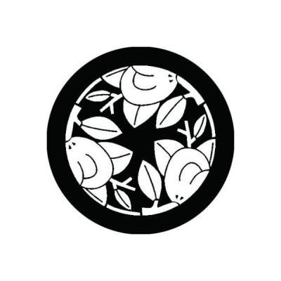 家紋シール 白紋黒地 三つ割り枝橘 布タイプ 直径23mm 6枚セット NS23-1361W