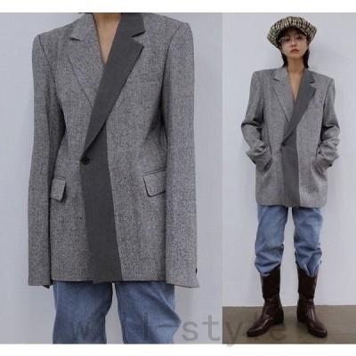テーラードジャケット韓国原宿系ストリートオルチャンダンス衣装配色バイカラーHIPHOPアウタートップスレディース