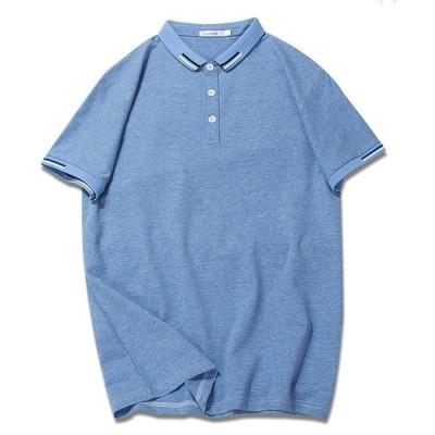 メンズ半袖Tシャツ大きいサイズゆったりレギュラーカラーカジュアル人気新作