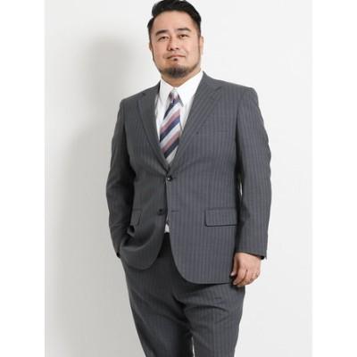 【大きいサイズ】グランバック/GRAND-BACK 洗えるスラックス ストライプグレー 2ピーススーツ