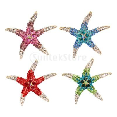 ピンクのラインストーンヒトデブローチピンジュエリー動物海洋テーマ