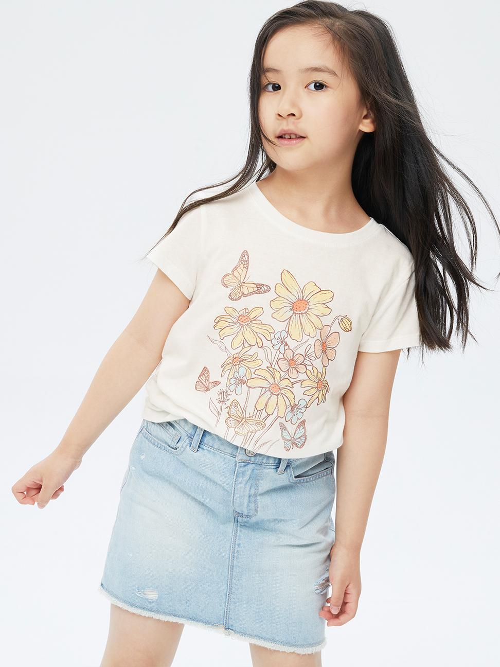 女童 清新花卉印花短袖T恤