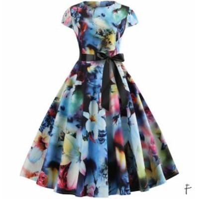 細身ドレス 8色 レディースロング丈ドレスフランス復古風ドレス 半袖花柄 ロング 大きい裾ワンピース リボン ビーチドレス ダン