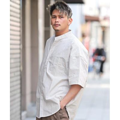 (LUXSTYLE/ラグスタイル)スタンドカラーストライプBIG半袖シャツ/半袖シャツ メンズ スタンドカラー 無地 薄手 ビッグシルエット/メンズ ホワイト
