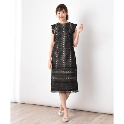 ドレス 総レースタイトシルエットドレス
