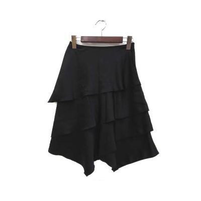 【中古】美品 スタイル Style 東京スタイル スカート 36 S 黒 ブラック ポリエステル ティアード 無地 シンプル レディース 【ベクトル 古着】