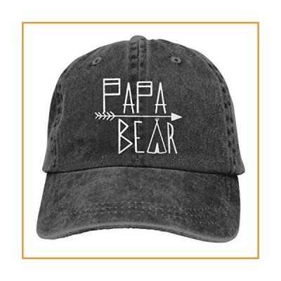 ユニセックス 大人用 ヴィンテージ ウォッシュドデニム 調節可能 野球帽 PAPA 熊と矢 ブラック_並行輸