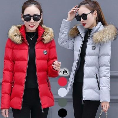 中綿コート ファー襟 レディース ショート丈 コート フード付き ダウンジャケット 軽量 ダウンコート 暖かい 冬 中綿入れ ジャケット 大きいサイズ アウター