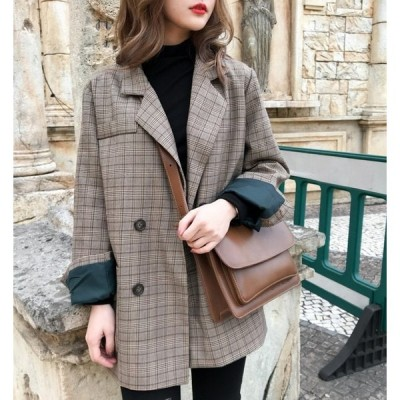 レディース チェックジャケット 長袖 おしゃれ チェック 大きめサイズ ゆったり 秋ジャケット トレンド 可愛い