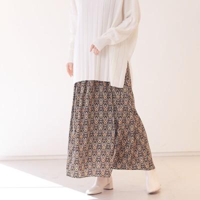 ルージュヴィフ ラクレ Rouge vif la cle 【WEB&一部店舗限定】プリントマキシギャザースカート (ブラック)