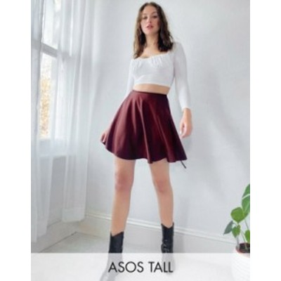 エイソス レディース スカート ボトムス ASOS DESIGN Tall satin wrap mini skirt in oxblood Oxblood