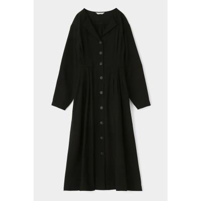 マウジー moussy TUCK WAIST L/S SHIRT DRESS (ブラック)