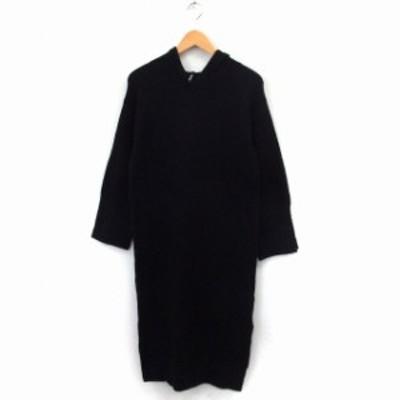 【中古】アウラアイラ AULA AILA ワンピース ニット ロング 長袖 裾リボン フード 0 ブラック /ST45 レディース