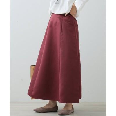 スカート ベルト付きサテンスカート
