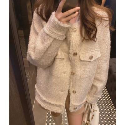 レディース ファッション 秋 冬 春 ツイード ジャケット 長袖 ミドル丈 ホワイト ゆったり かわいい 上品 通勤 通学 お出かけ 女子会 デート