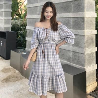 ワンピース レディース ロングワンピース バックレスドレス チェック柄 半袖 2色 体型カバー 韓国風 かわいい 40代 夏 お呼ばれ 大人 女子会