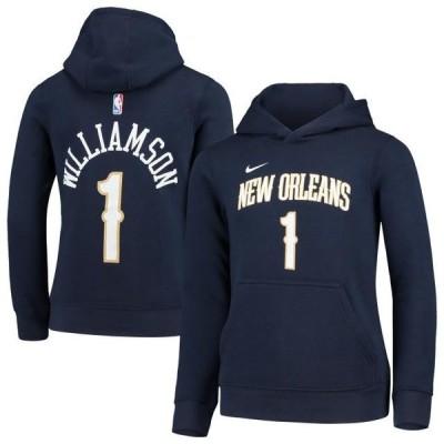 キッズ スポーツリーグ バスケットボール Zion Williamson New Orleans Pelicans Nike Youth Name & Number Pullover Hoodie - Navy