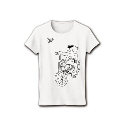 コンビニ帰りの猫とトンボ リブクルーネックTシャツ(ホワイト)