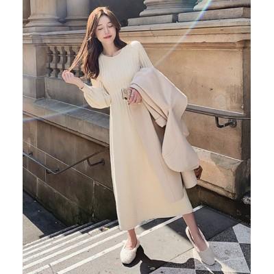 (Girly Doll/ガーリードール)【2021春夏商品】ニットワンピース【韓国ファッション】/レディース ホワイト