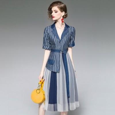 エレガント フェミニン ストライプ スーツ ステッチ ツーピース風ドレス マニッシュ シースルー セクシー お呼ばれ デート