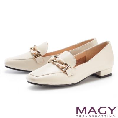 MAGY 金屬串鍊真皮平底 女 樂福鞋 米色