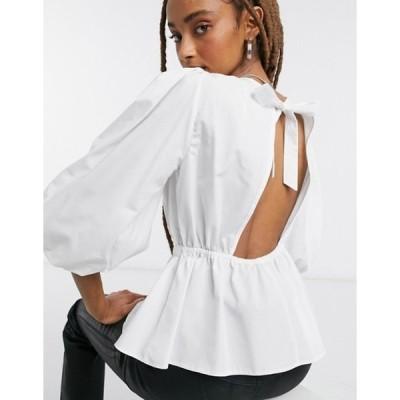 ミスセルフフリッジ レディース シャツ トップス Miss Selfridge poplin blouse in ivory