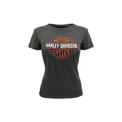 レディース ウェア Tシャツ ハーレーダビッドソン Harley-Davidson Womens Orange Bar Shield T-Shirt Gray 30291751