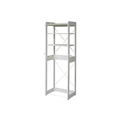 JKプラン 木製 冷蔵庫ラック 幅60 cm 冷蔵庫 上 収納 棚 ラック フック付き 可動棚 冷蔵庫用 キッチン KKS-0013-WH