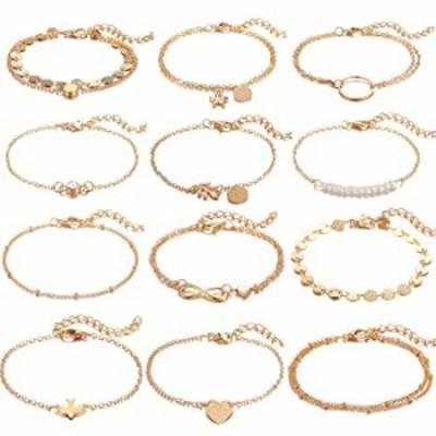 Dremcoue 12 Pcs Gold Bracelets for Women Girls Handmade Adjustable Chain Charm Bracelet Set Simple Dainty Bracelet Set