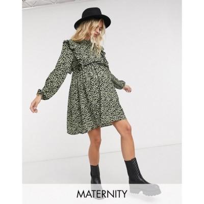ピーシーズ マタニティ レディース ワンピース トップス Pieces Maternity mini skater dress with ruffle detail in leopard print Leopard print