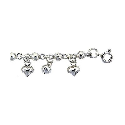 Sterling Silver Anklet with Beads, Hearts & Bells, fits 9-10 inch Ankles並行輸