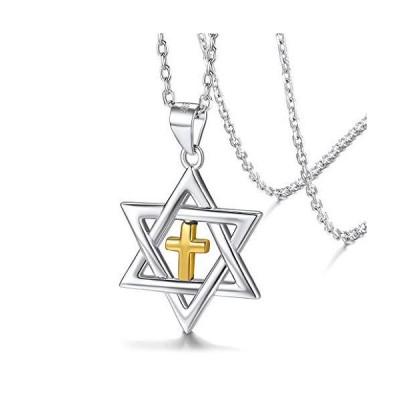 Silvora ダビデの星 十字架 ネックレス クロス シルバー925 ヘキサグラム 六芒星 レディース メンズ アクセサリー