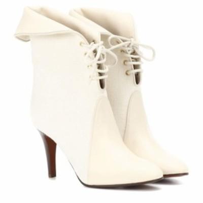クロエ Chloe レディース ブーツ ショートブーツ シューズ・靴 Kole canvas and leather ankle boots Ivory Sand