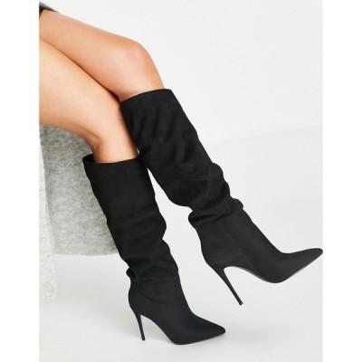 スティーブ マデン Steve Madden レディース ブーツ ピンヒール シューズ・靴 Dakota slouchy stiletto heeled boots in black microsuede