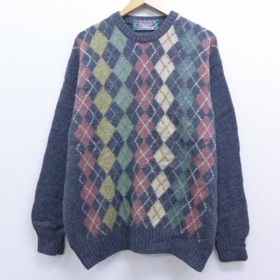 XL/古着 長袖 セーター 90s アーガイル ウール クルーネック グレー 19nov19 中古 メンズ ニット トップス