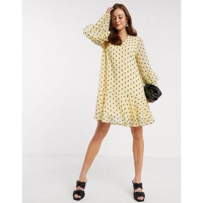 ワイ エー エス Y.A.S レディース ワンピース ミニ丈 ワンピース・ドレス mini smock dress with frill sleeve detail in black spot イエロー