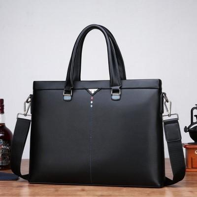 ビジネスバッグ メンズ ブリーフケース A4 ビジネス 鞄 手提げ  2way ショルダー付き 2色 通勤 面接 出張 レザー 柔らか撥水